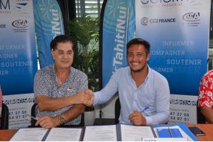Stéphane Chin Loy et Christian Vanizette signe la convention