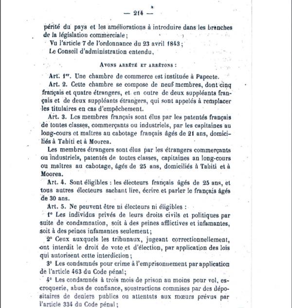 L'arrêté du 30 juin 1880 établissant une Chambre de commerce à Papeete