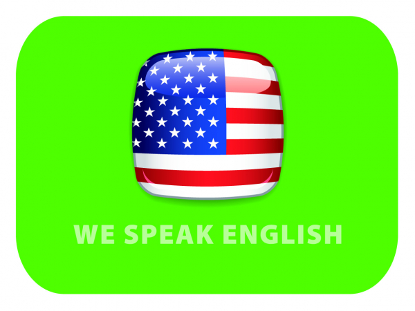 "Procurez-vous aussi à la CCISM le sticker ""We Speak English"""