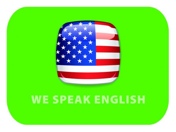 """Procurez-vous aussi à la CCISM le sticker """"We Speak English"""""""