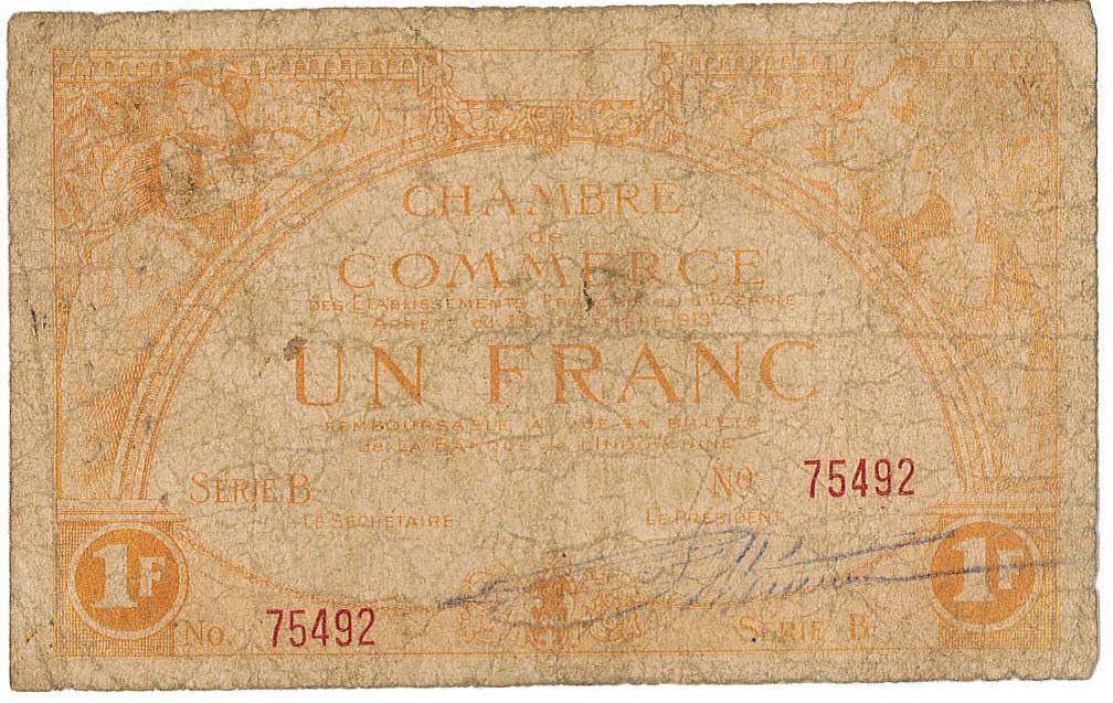 Exemplaire d'un billet (recto) de 1 franc émis par la Chambre de commerce de Tahiti en 1919