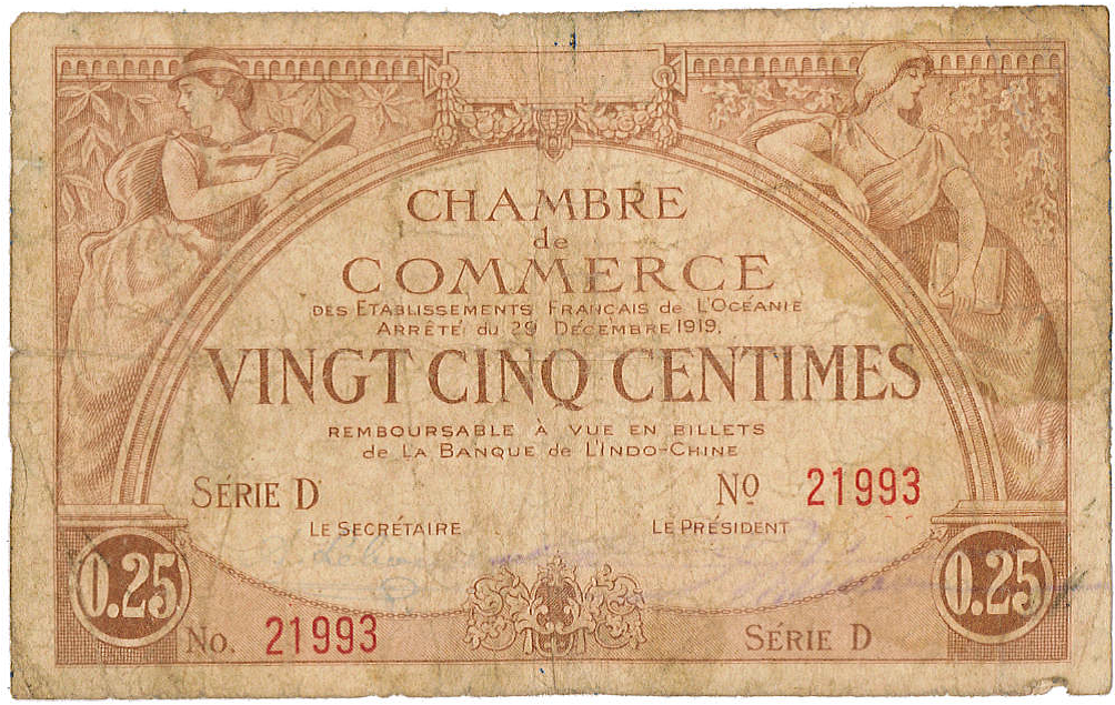 Exemplaire d'un billet (recto) de 25 centimes émis par la Chambre de commerce de Tahiti en 1919