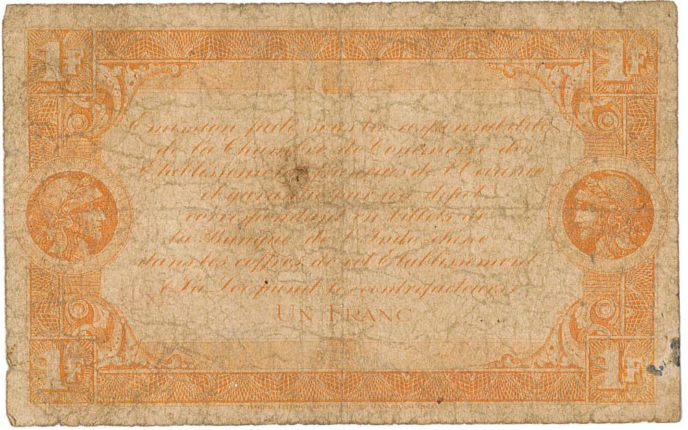 Exemplaire d'un billet (verso) de 1 franc émis par la Chambre de commerce de Tahiti en 1919