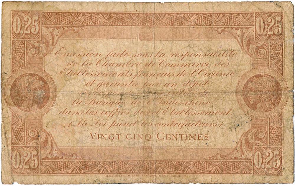 Exemplaire d'un billet (verso) de 25 centimes émis par la Chambre de commerce de Tahiti en 1919