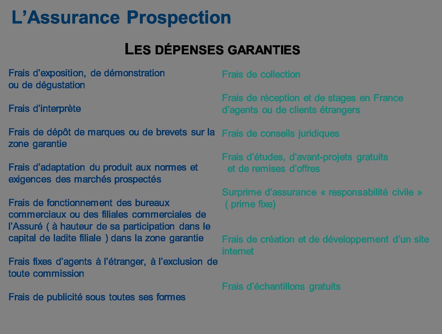Coface : les dépenses garanties par l'assurance prospection - 2