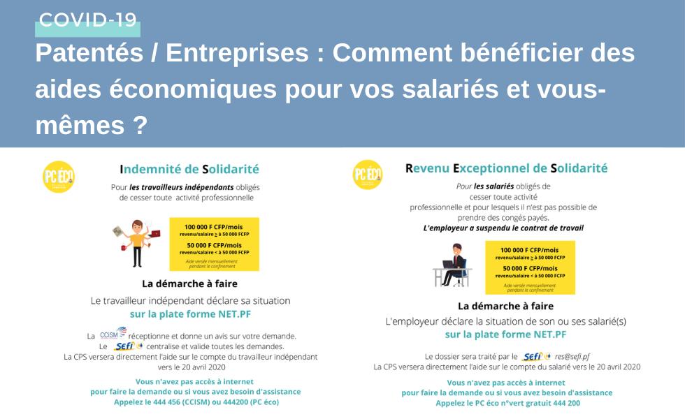 Patentés / Entreprises : Comment bénéficier des aides économiques pour vos salariés et vous-mêmes ?