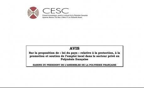 CESC - Avis 51/2016 protection, à la promotion et soutien de l'emploi local dans le secteur privé en Polynésie française